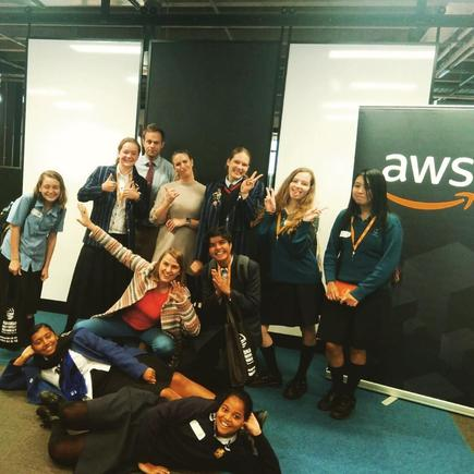 Students at the AWS office in Auckland