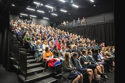 Students joining ShadowTech day in Wellington converged at Te Auaha New Zealand Institute of Creativity, where they heard about study options in IT and creative technologies, and met academics teaching in these fields.