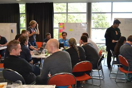Teams in action during the second hackathon held at the Huntly power station in Waikato.