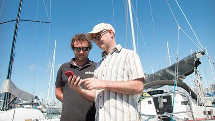 Cameron Harris (left) of Beacon Marine Electronics and John McDermott (right) of BoatSecure, a new venture using Spark's LoRa network technology to let boat owners monitor their vessels in real-time.