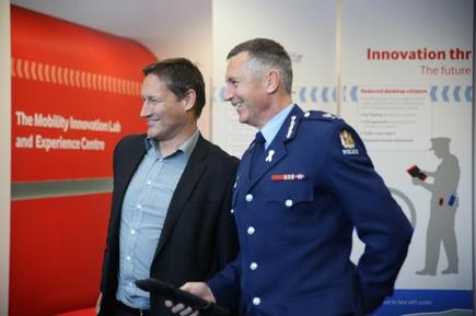 Vodafone CEO Russell Stanners and Police Commissioner Mike Bush at the opening of the Mobility Innovation Lab and Experience Centre in Wellington.