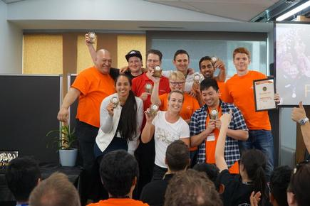 The winning team during the inaugural hackathon