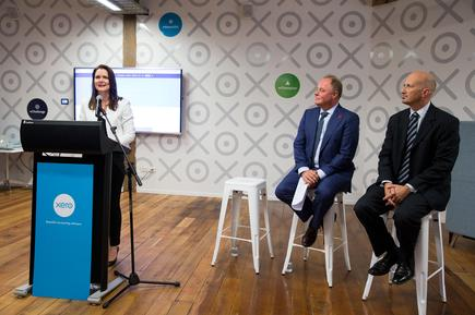 Xero NZ Managing Director Anna Curzon; Small Business Minister, Craig Foss; and ASB Chief Economist, Nick Tuffley at the launch of Xero Signals.