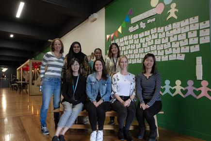 Anna Curzon with some female developers at Xero.