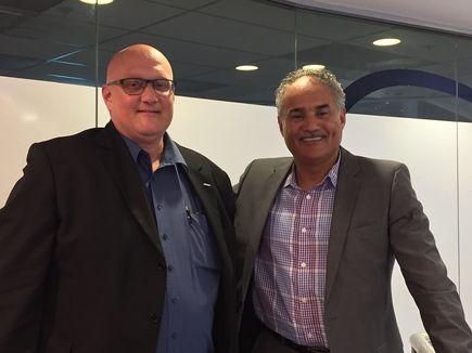Pieter Bakker with Dr Chakib Bouhdary, global digital transformation officer at SAP. Bakker is a founding member of the SAP New Zealand's Executive Digital Exchange (EDX) – a global community of digital innovation leaders. (Photo by Divina Paredes)