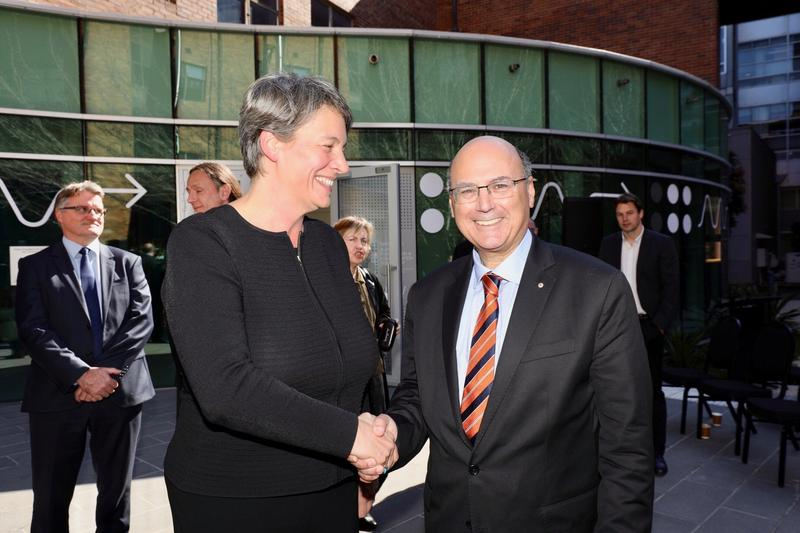 Michelle Simmons, UNSW Professor of Physics and director of the CQC2T with Senator Arthur Sinodinos, Minister for Industry, Innovation and Science at the company launch.