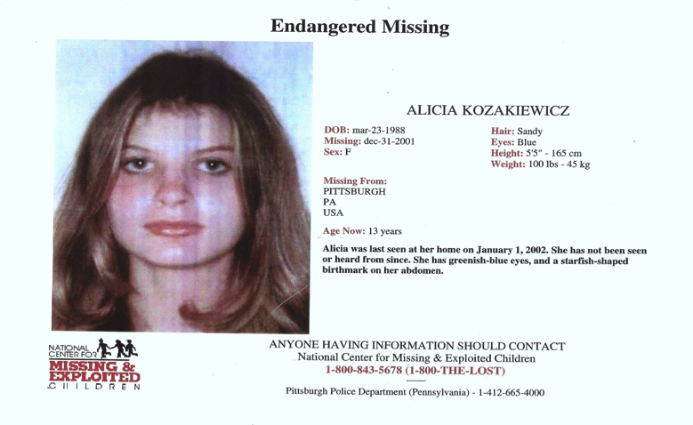 The missing persons notice for Alicia