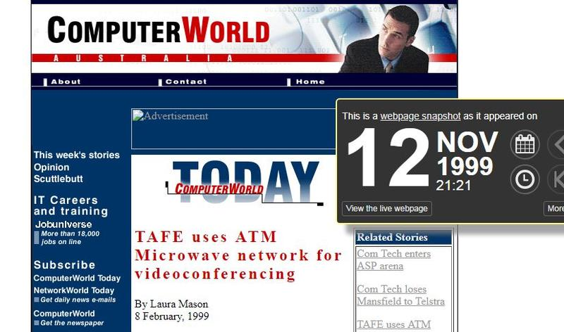 The Computerworld Australia site as it looked in 1999