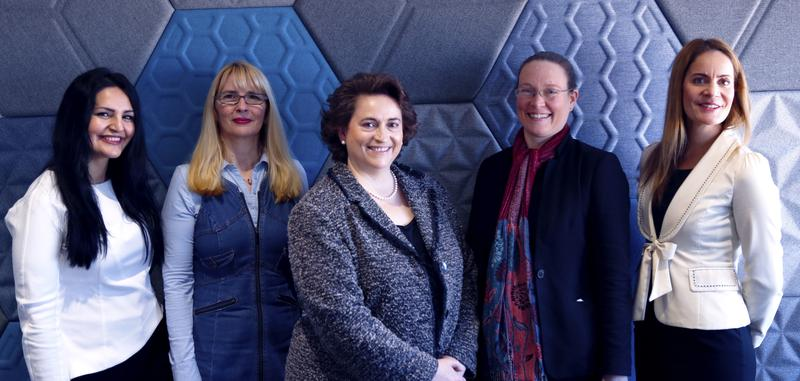 Cyber team: (L to R): Diana Drooj, Ivana Stojnic (seconded from NSW Department of Industry), Dr Maria Milosavljevic, Rachael Fraher (seconded from DFSI Policy), Geraldine Baldock.
