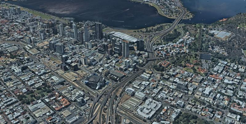 Nearmap 3D view of Perth
