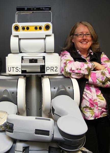 Professor Mary-anne Williams with UTS' PR2 robot