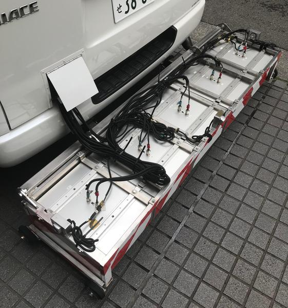 The radar units attached to the rear of the cavity survey van