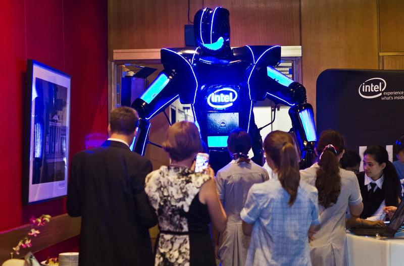 Bootcamp attendees were greeted by Intel's eight-foot tall 'Chip the Robot'