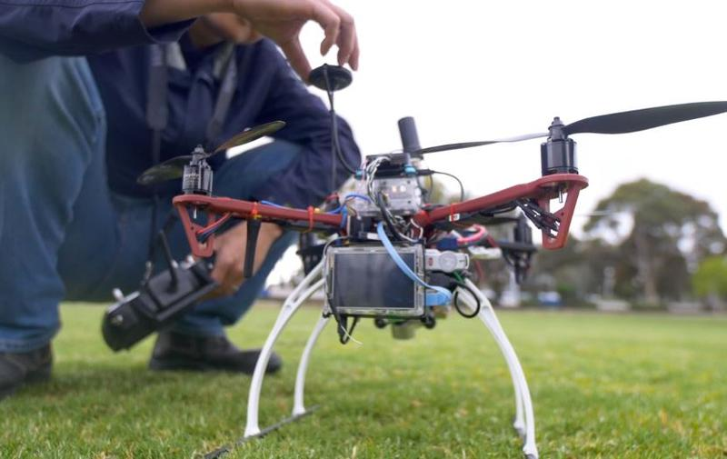 A Monash drone being prepared for lift-off