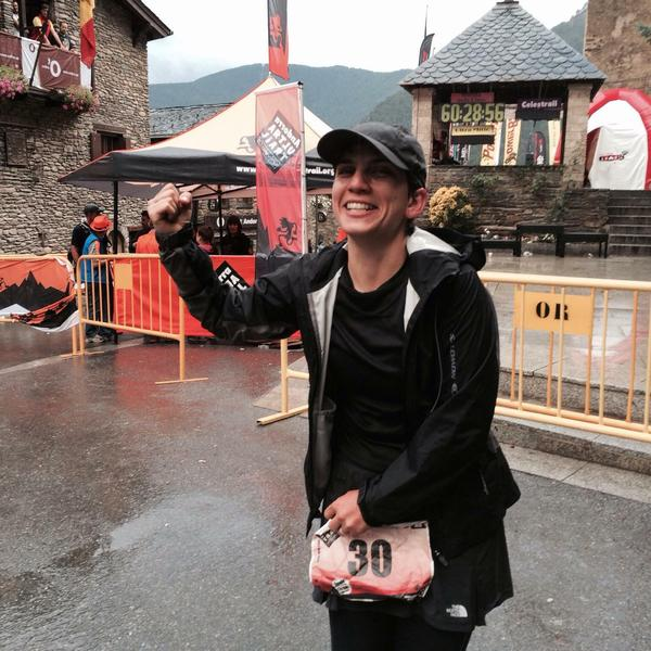 Tay Alirezaee after completing the Andorra Ultra Trail in the Pyrenees mountains.