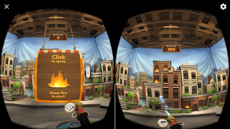 Tinder House is reminiscent of the far-more powerful Nvidia VR Funhouse: here you put out fires with an interactive hose.
