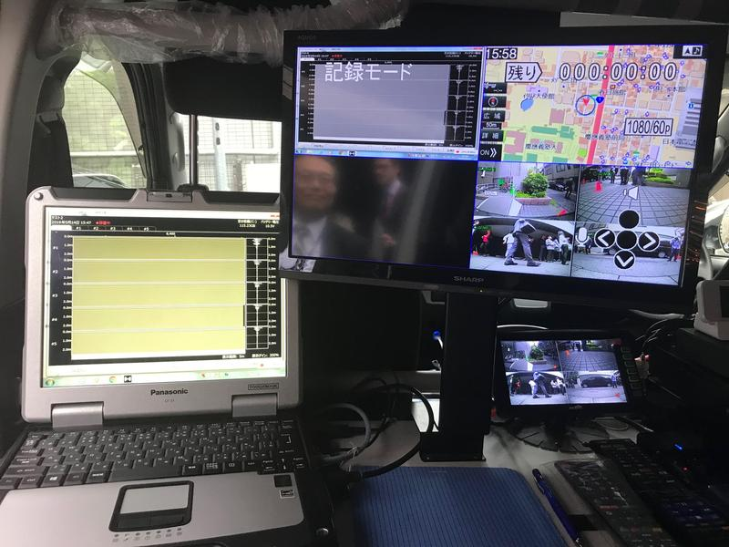 The control panel of the survey van